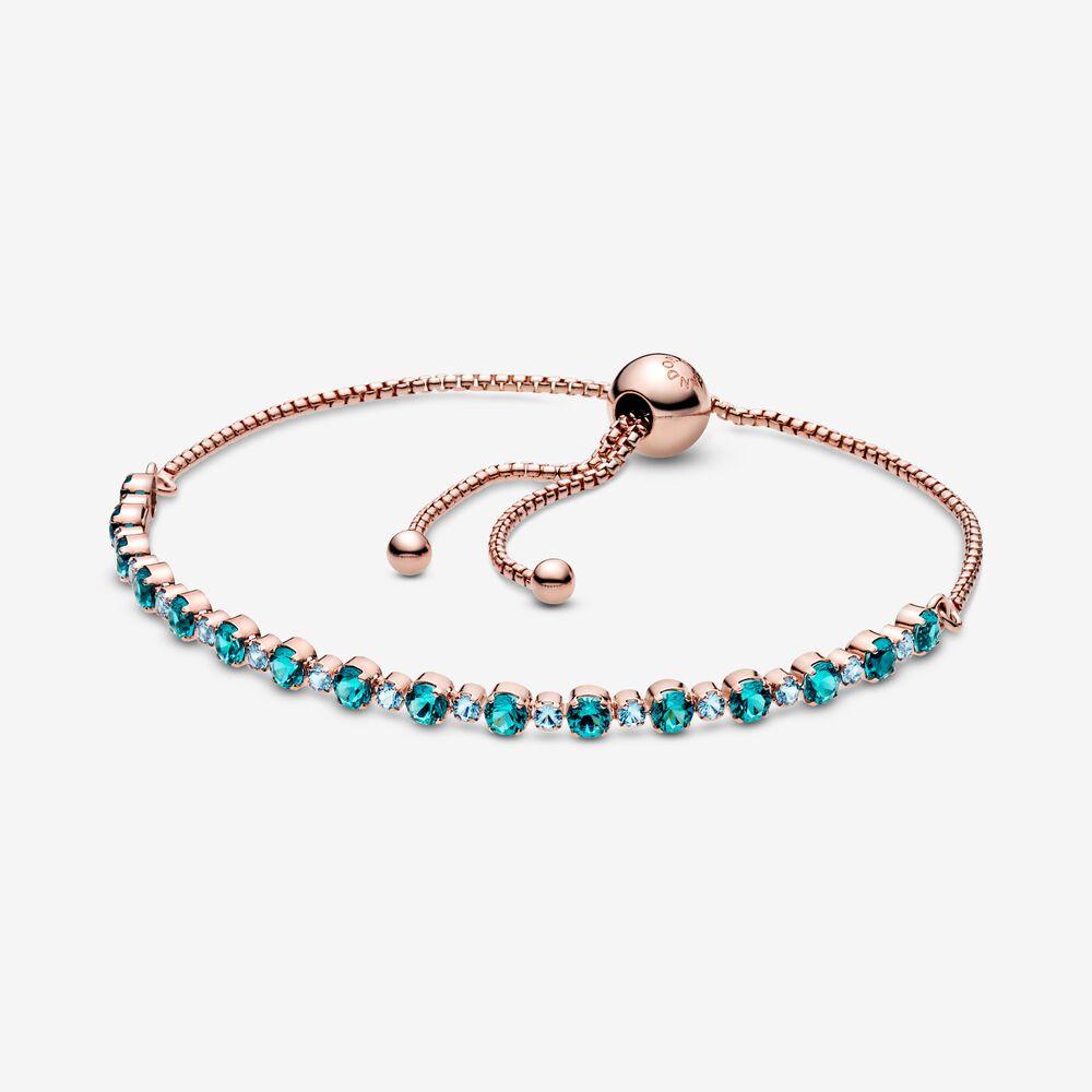 Turquoise Sparkling Slider Tennis Bracelet Final Sale Rose Gold Plated Pandora Canada