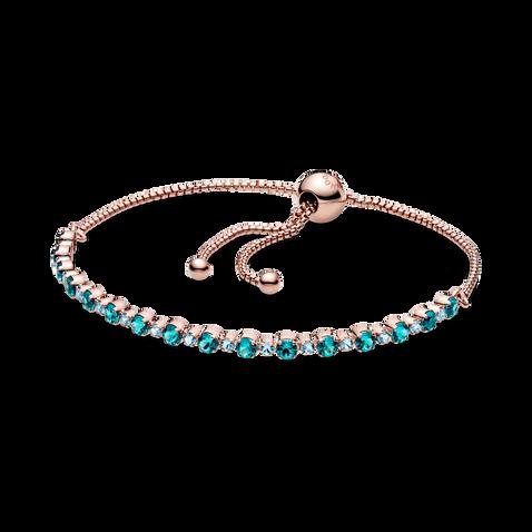 Bracelet tennis coulissant scintillant turquoise