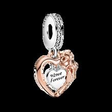 Charm-pendentif Cœur et rose