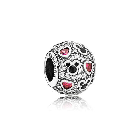 Disney, Sparkling Mickey & Hearts, Sterling silver, Black, Mixed stones - PANDORA - #791457CZ