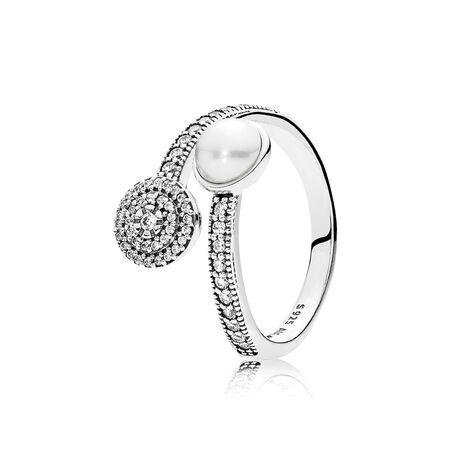 Éclat lumineux, perle de cristal blanche et cz incolore