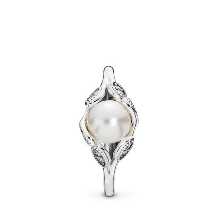 Luminous Leaves, White Pearl & Clear CZ, Sterling silver, Mixed stones - PANDORA - #190967P