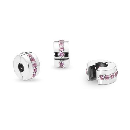 Shining Path Clip, Pink CZ, Sterling silver, Pink, Cubic Zirconia - PANDORA - #791972PCZ
