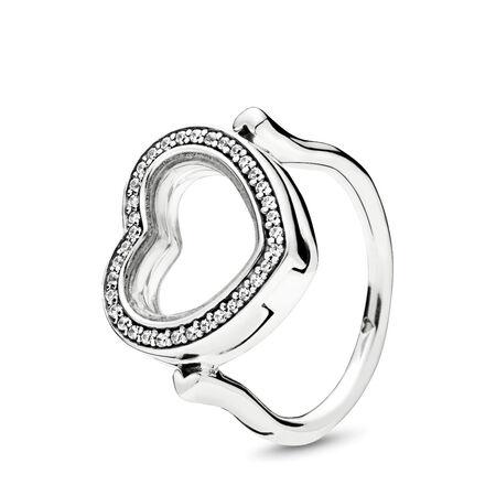 Sparkling PANDORA Floating Heart Locket Ring, Clear CZ, Sterling silver, Glass, Cubic Zirconia - PANDORA - #197252CZ