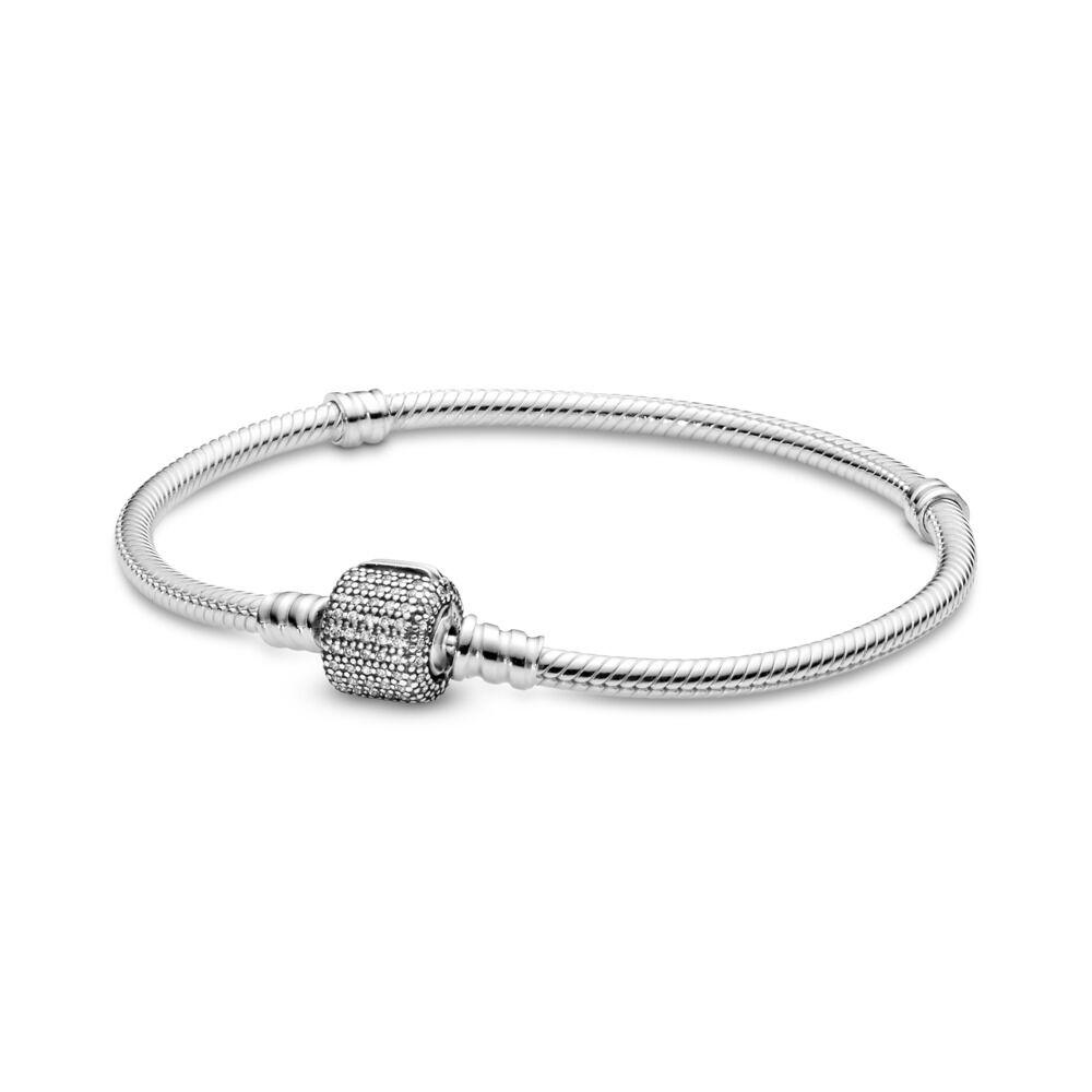 dda01a886 Moments Sparkling Pavé & Snake Chain Bracelet, Sterling silver, Cubic  Zirconia - PANDORA -