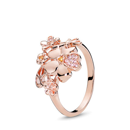 Wildflower Meadow Ring, PANDORA Rose™ & Blush Pink Crystal, PANDORA Rose, Pink, Mixed stones - PANDORA - #187083NPRMX
