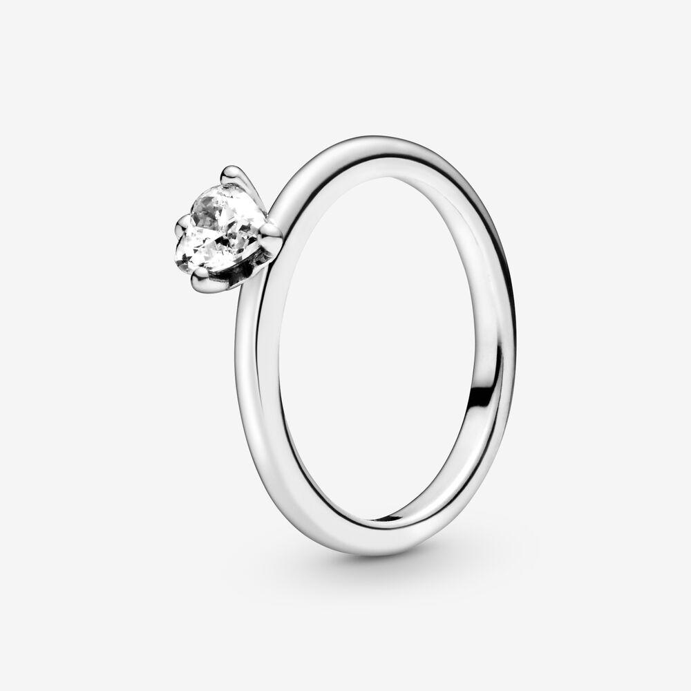 Bague à solitaire en cœur transparent | Argent sterling | Pandora ...