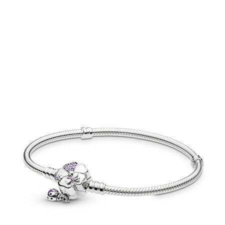 Bracelet Pré de fleurs sauvages en argent sterling avec fermoir, Argent sterling, émail, Mauve, Pierres mélangées - PANDORA - #597124NLC