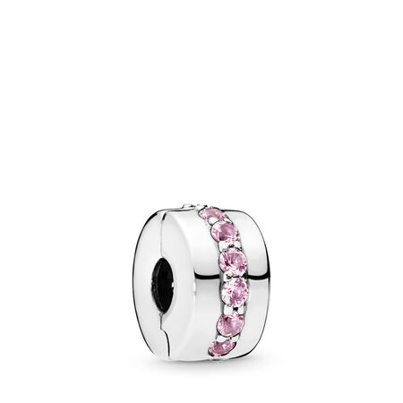 Shining Path Clip, Pink CZ, Sterling silver, Pink, Cubic Zirconia - PANDORA - #791972PCZ
