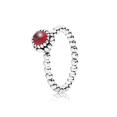 Silver ring, birthstone-January, garnet