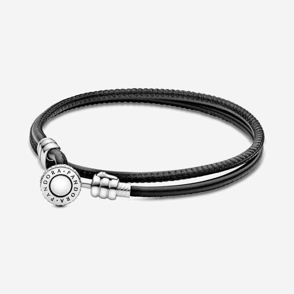 bracelet cuir noir pandora