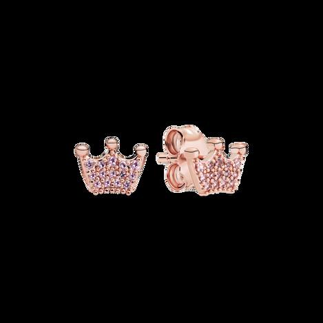Pink Crown Stud Earrings