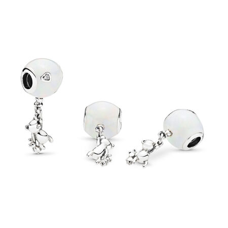 Teddy & Balloon Dangle Charm, Sterling silver, Enamel, Silver, Cubic Zirconia - PANDORA - #797034EN23