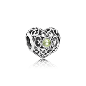 August Signature Heart, Peridot
