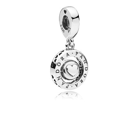 Spinning PANDORA Signature Dangle Charm, Clear CZ