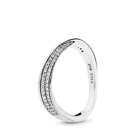 Elegant Waves Ring, Clear CZ