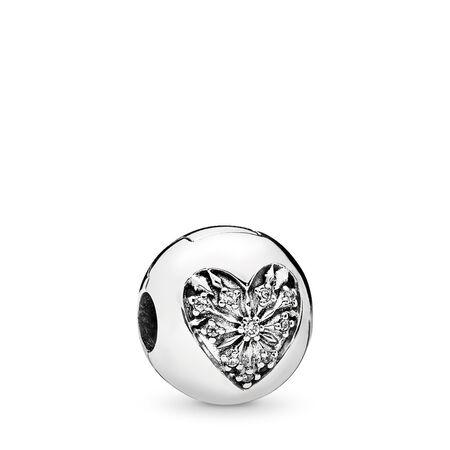 Heart of Winter Clip, Clear CZ, Sterling silver, Cubic Zirconia - PANDORA - #796388CZ