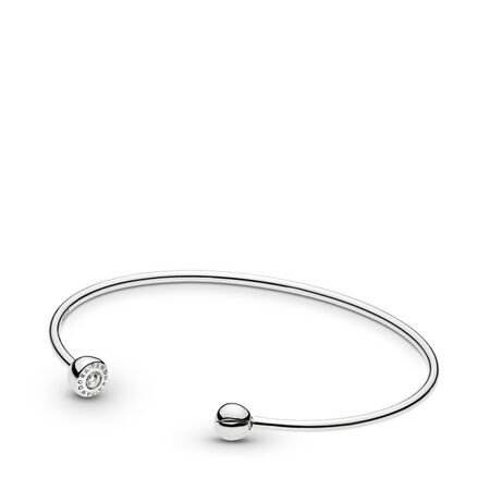 ESSENCE Silver Open Bangle, Clear CZ