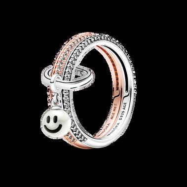 Pandora ME Happy Smiley Face Ring Set