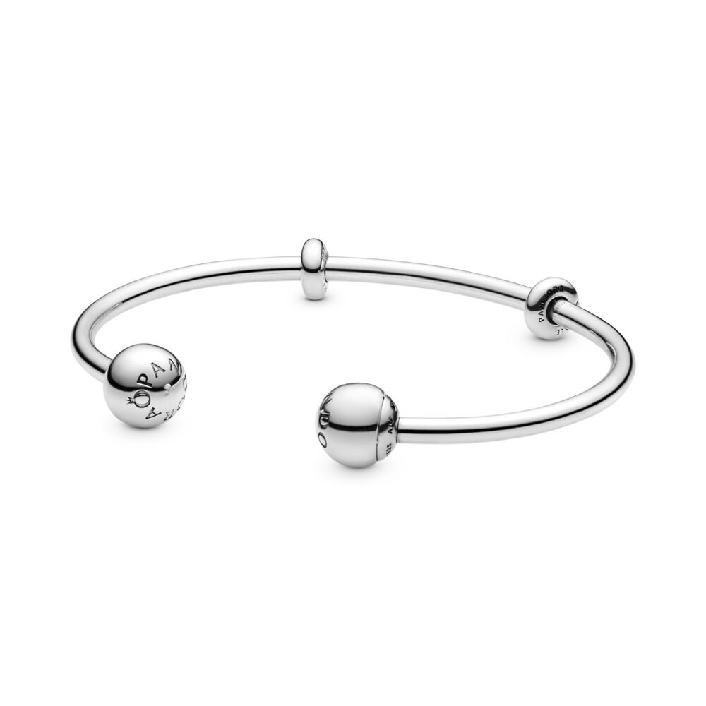 f36b8d23b Moments Open Bangle, Sterling silver, Silicone - PANDORA - #596477
