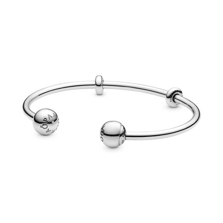 Open Charm Bangle, Sterling silver, Silicone - PANDORA - #596477