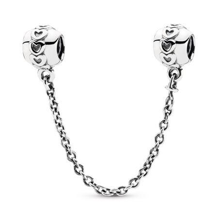 Hearts silver safety chain, Argent sterling, Aucun autre matériel, Aucune couleur, Aucune pierre - PANDORA - #791088