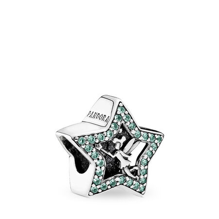 Disney, Tinker Bell Star, Green Crystals, Sterling silver, Green, Crystal - PANDORA - #791920NPG