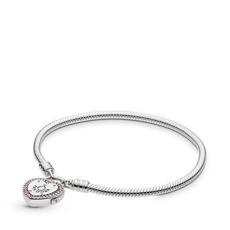 Bracelet-chaînette cadenas en forme de cœur et mille-maillons Moments, Argent sterling, Aucun autre matériel, Rose, Zircon cubique - PANDORA - #596586FPC