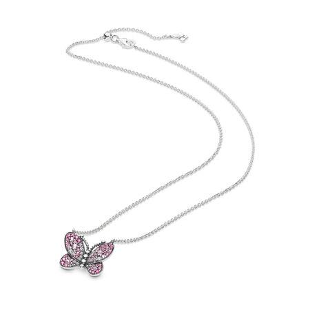 Collier Papillon rose éclatant