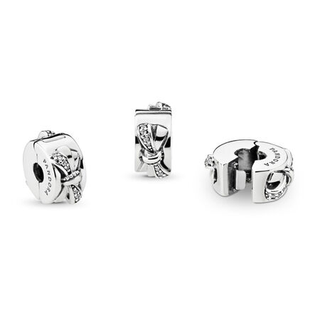 Shiny Bow Clip, Clear CZ, Sterling silver, Cubic Zirconia - PANDORA - #797304CZ