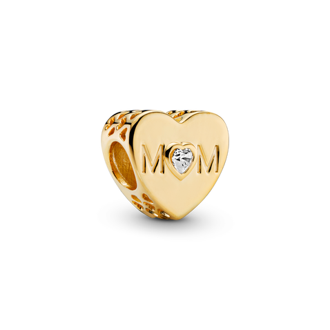 Charm Cœur transparent avec inscription « Mom »