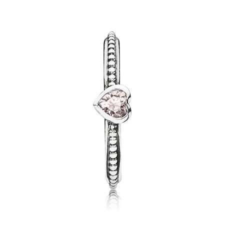 One Love Stackable Ring, Synthetic Pink Sapphire, Sterling silver, Pink, Synthetic sapphire - PANDORA - #190896SLP
