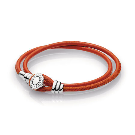 Limited Edition Spicy Orange Double Leather Bracelet, Clear CZ, Sterling silver, Leather, Orange, Cubic Zirconia - PANDORA - #597194CSO-D