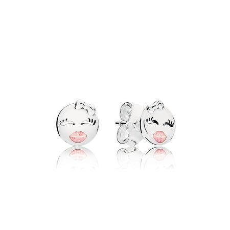 Playful Winks Stud Earrings, Light Pink Enamel