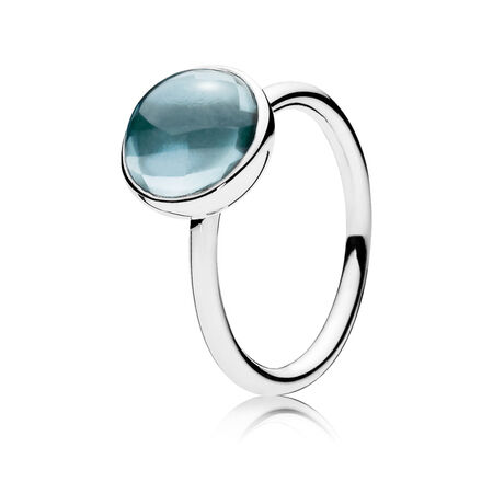 Poetic Droplet, Aqua Blue Crystal, Sterling silver, Blue, Crystal - PANDORA - #190982NAB