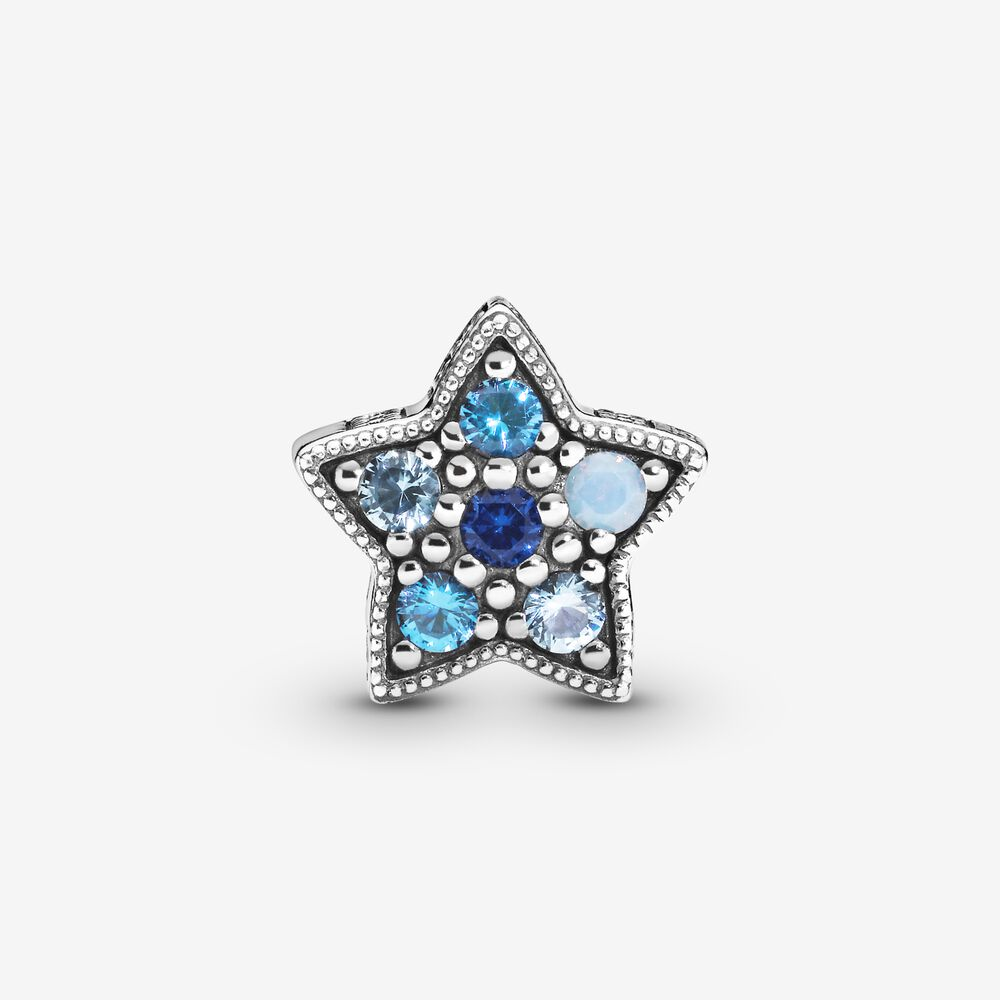 charm pandora stella blu