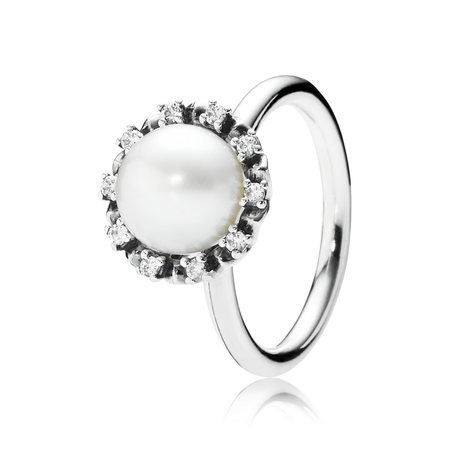 Everlasting Grace Ring, Pearl & Clear CZ