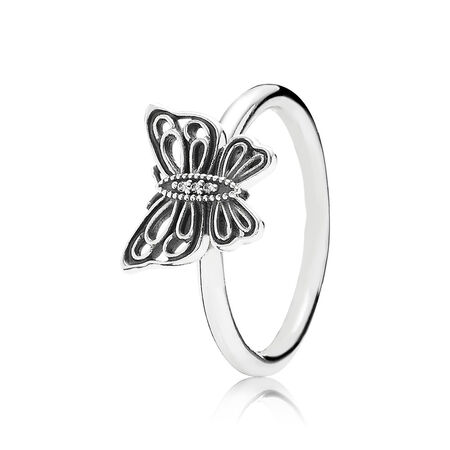 Love Takes Flight Stackable Ring, Clear CZ, Sterling silver, Cubic Zirconia - PANDORA - #190901CZ