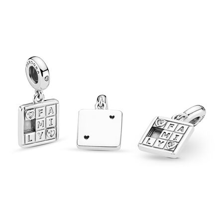 Family Game Night Dangle Charm, Clear CZ