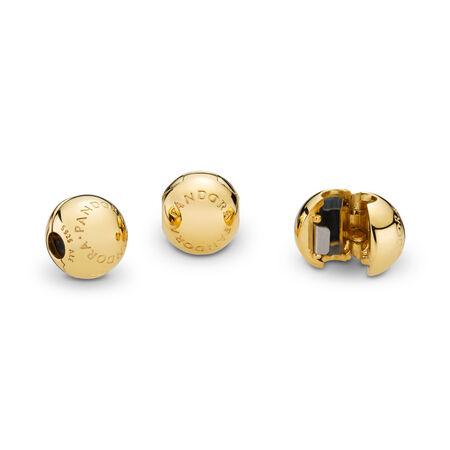 PANDORA Logo Clip, PANDORA Shine™, 18ct gold-plated sterling silver, Silicone - PANDORA - #767053