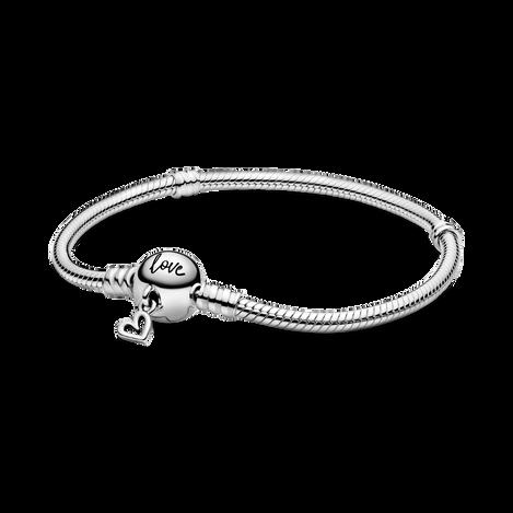 Pandora Moments Freehand Heart Clasp Snake Chain Bracelet