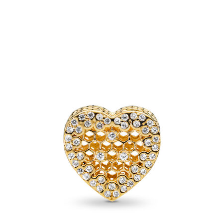 Honeycomb Lace Charm, PANDORA Shine™, 18ct gold-plated sterling silver, Cubic Zirconia - PANDORA - #767039CZ