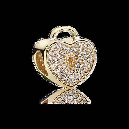 Heart Lock, Clear CZ & 14K Gold