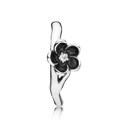 Mystic Floral Ring, CZ & Black Enamel, Sterling silver, Enamel, Cubic Zirconia - PANDORA - #190918CZ