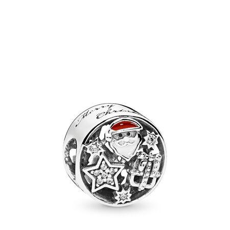 Charm Joie de Noël, émaux mixtes et cz incolore, Argent sterling, émail, Rouge, Zircon cubique - PANDORA - #796364CZ