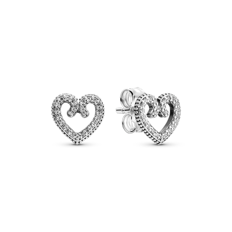 Heart Swirl Stud Earrings