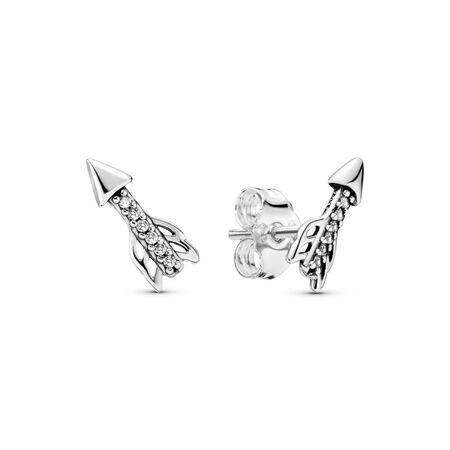 Limited Edition Sparkling Arrows Stud Earrings, Sterling silver, Cubic Zirconia - PANDORA - #297828CZ