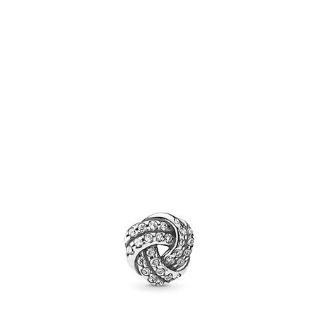 Sparkling Love Knot Petite, Clear CZ, Sterling silver, Cubic Zirconia - PANDORA - #792179CZ