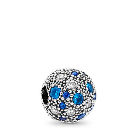 Cosmic Stars, Multi-Colored Crystals & Clear CZ, Sterling silver, Blue, Mixed stones - PANDORA - #791286NSBMX