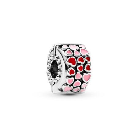 Red & Pink Hearts Clip Charm, Sterling silver, Enamel, Pink - PANDORA - #796594ENMX